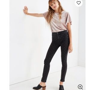 Madewell High Rise Skinny Jeans Metallic Dot 32